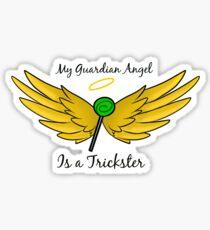 My Guardian Angel Is a Trickster BLACK TEXT Sticker