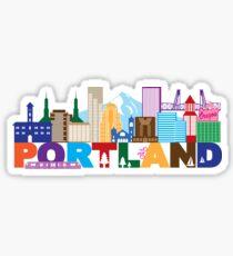 Pegatina Ilustración de color de horizonte y texto de Portland Oregon