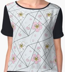 Cherry flowers in white and pink on black strait lines Women's Chiffon Top