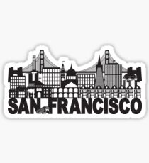San Francisco Skyline and Text Black and White Illustration Sticker