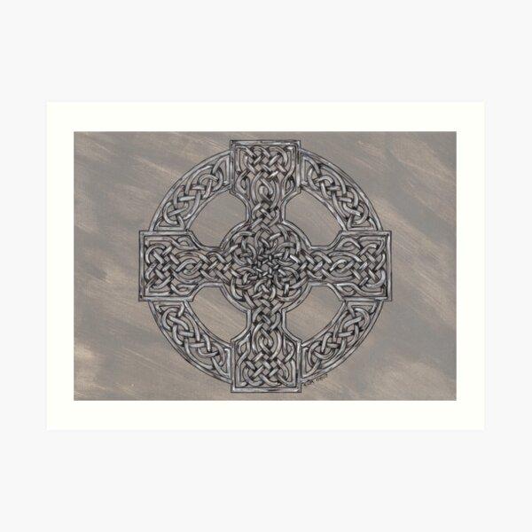 Grey Wheeled Cross Art Print