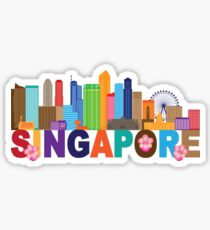 Singapore City Skyline Text Color Illustration Sticker