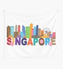 Singapore City Skyline Text Color Illustration Wall Tapestry