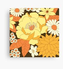 Yellow, Orange and Brown Vintage Floral Pattern Canvas Print