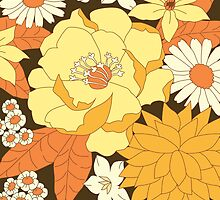 Yellow, Orange and Brown Vintage Floral Pattern by Eyestigmatic