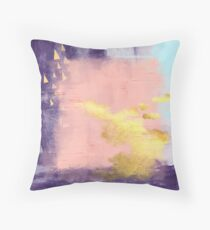 Modern abstract art in pink and gold Throw Pillow