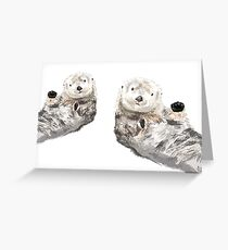 Sweet Loving Sea Otters Couple Greeting Card