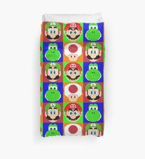 Colorful Pixel Mario Gang. Duvet Cover