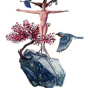 """""""Weighted"""" Original Oil Painting Floating Boulder, Cherry Blossom, Woman and Blue Birds by sckuithe"""