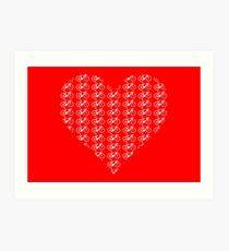 Bike Heart (Red-White) (Small) Art Print