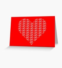 Bike Heart (Red-White) (Small) Greeting Card