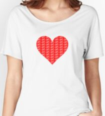 Bike Heart (Red-White) (Small) Women's Relaxed Fit T-Shirt
