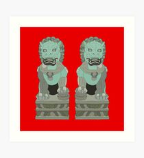 Chinese Lion Statues Art Print