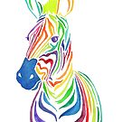 Rainbow Zebra in Bold Watercolors by latheandquill