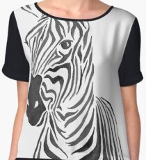 Zebra Illustration in Black and White Women's Chiffon Top