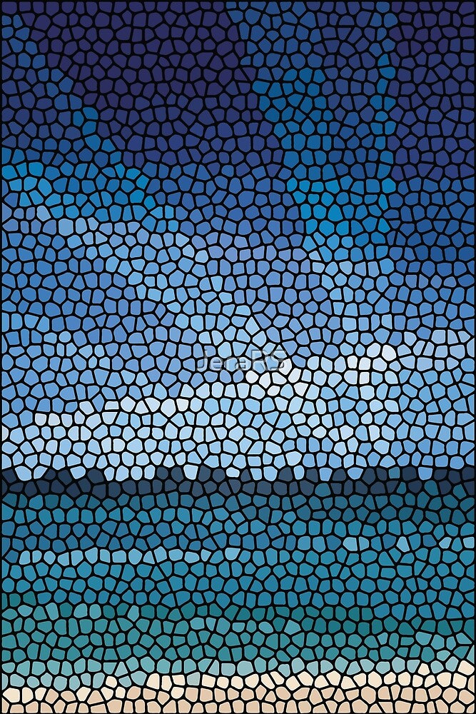 Mosaic abstract sea or ocean shore  by Jera RS