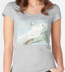 Little White Dove painting Women's Fitted Scoop T-Shirt