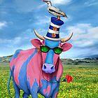 Cow in Field by Orna Ben-Shoshan