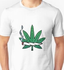 Smoking  joint or spliff with a leaf of cannabis. Unisex T-Shirt