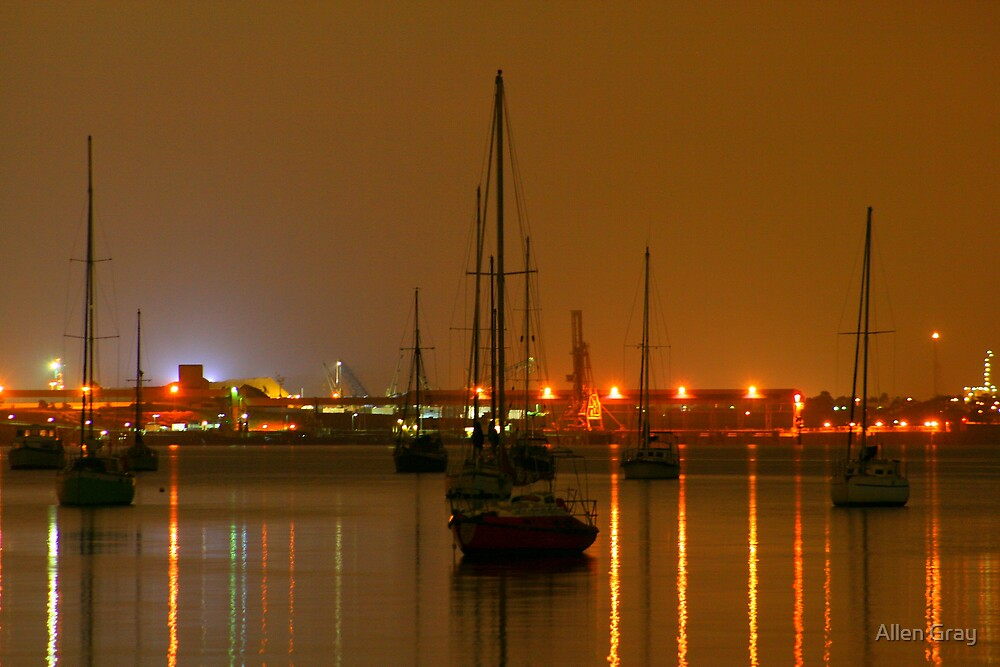 Yachts By Night by Allen Gray