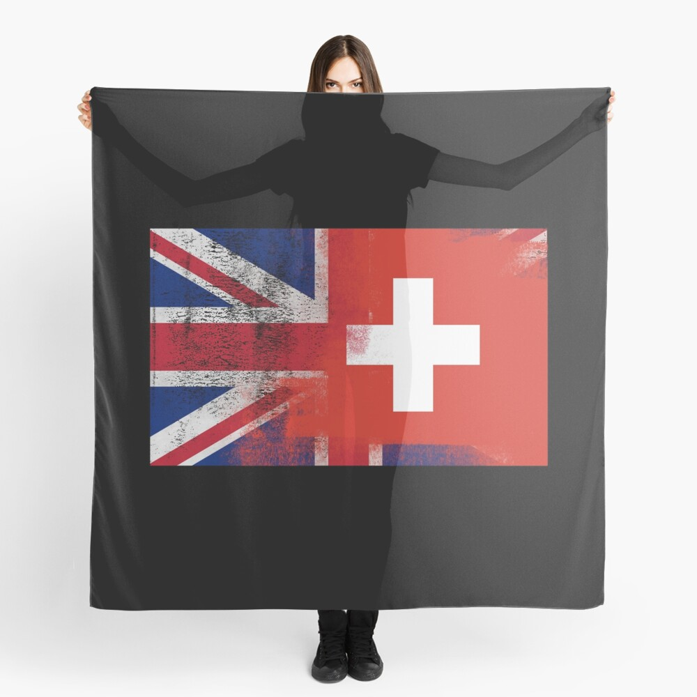 British Swiss Half Switzerland Half UK Flag Scarf