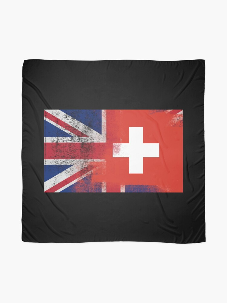 Alternate view of British Swiss Half Switzerland Half UK Flag Scarf