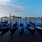 Venice - water, gondolas, churches, towers. by Mark Baldwyn