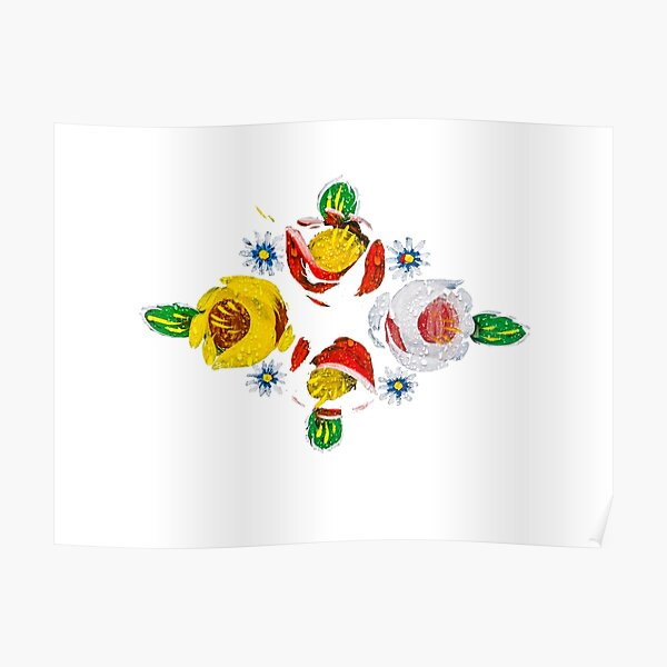 Canal flowers in the rain  Poster