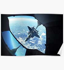 A F-22 Raptor refuels behind a KC-10 Extender. Poster