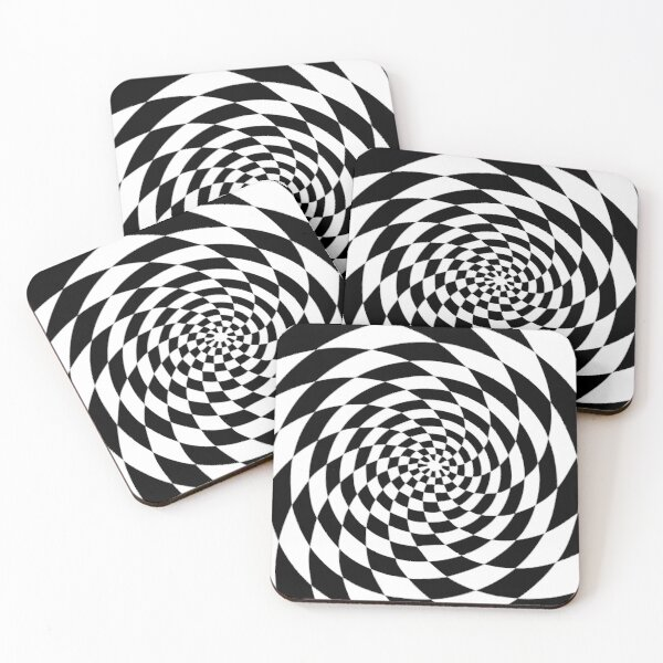 Optical Illusion Op Art Black and White Coasters (Set of 4)