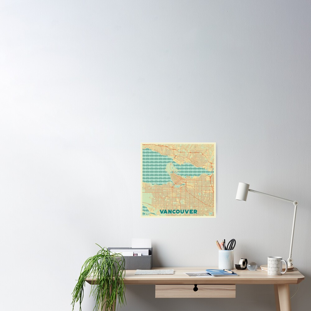 Vancouver Map Retro Poster
