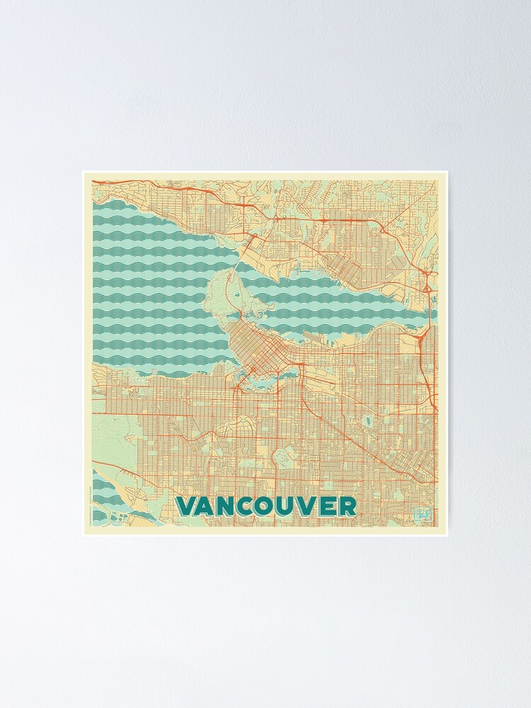 Alternate view of Vancouver Map Retro Poster