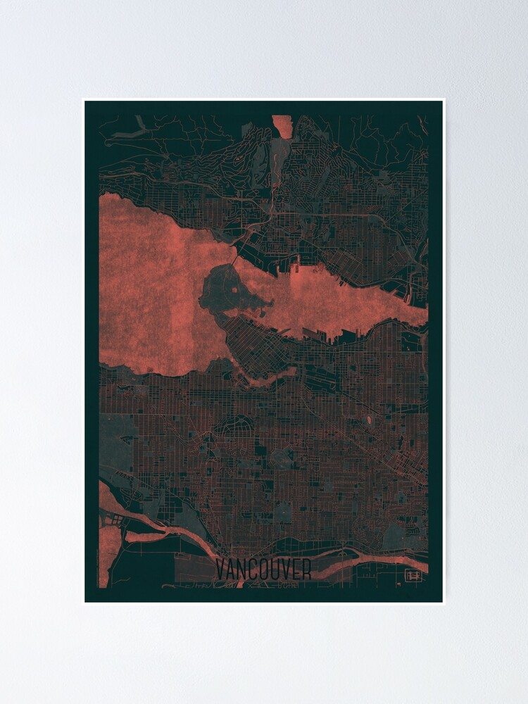 Alternate view of Vancouver Map Red Poster
