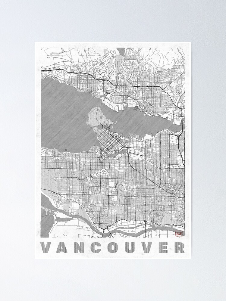 Alternate view of Vancouver Map Line Poster