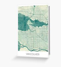 Vancouver Map Blue Vintage Greeting Card