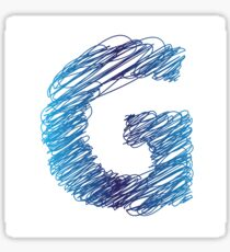 colorful illustration with sketched letter G on  a white background Sticker