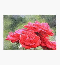 Painterly Red English Roses with Green Swirls Photographic Print