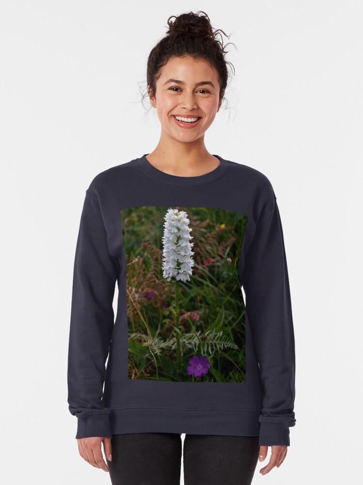Alternate view of Irish White Orchid, Inishmore Pullover Sweatshirt