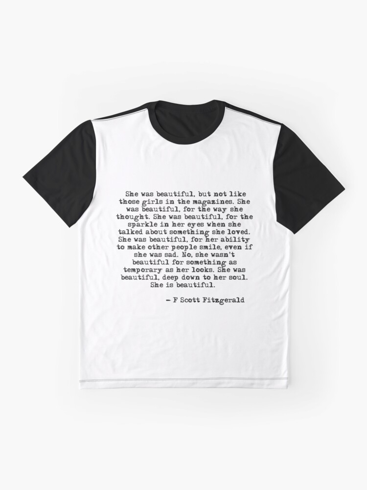Alternate view of She was beautiful - F Scott Fitzgerald Graphic T-Shirt