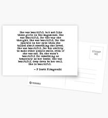 She was beautiful - F Scott Fitzgerald Postcards