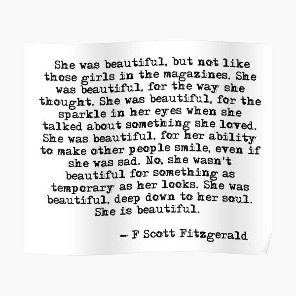 She was beautiful - F Scott Fitzgerald Poster