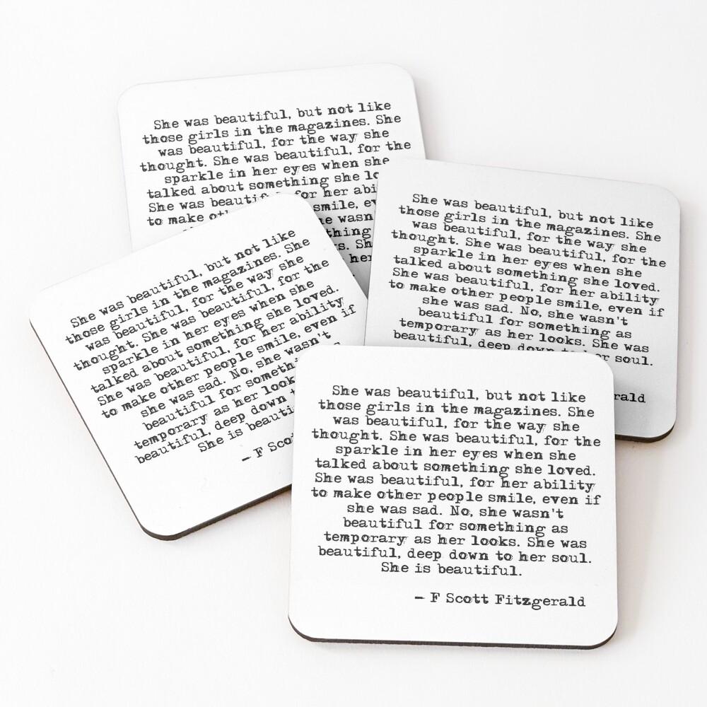 She was beautiful - F Scott Fitzgerald Coasters (Set of 4)