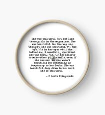 She was beautiful - F Scott Fitzgerald Clock