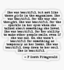 Pegatina transparente Ella era hermosa - F Scott Fitzgerald