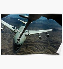 A U.S. Air Force E-3 Sentry aircraft refueling from a KC-10 Extender. Poster