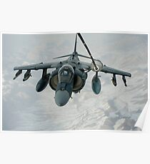 An A/V-8B Harrier receives fuel over Afghanistan from a KC-10 Extender. Poster