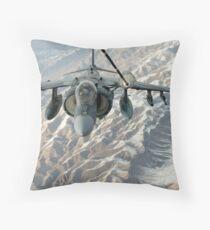 An A/V-8B Harrier receives fuel over Afghanistan from a KC-10 Extender. Throw Pillow