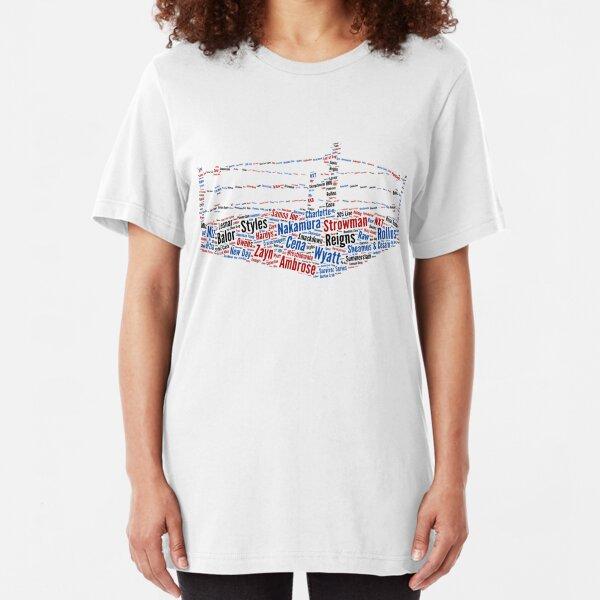 Wrestling Ring Word Cloud Slim Fit T-Shirt