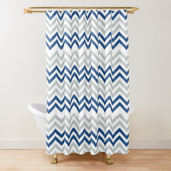 Stylish Blue And Gray Chevron Pattern Shower Curtain