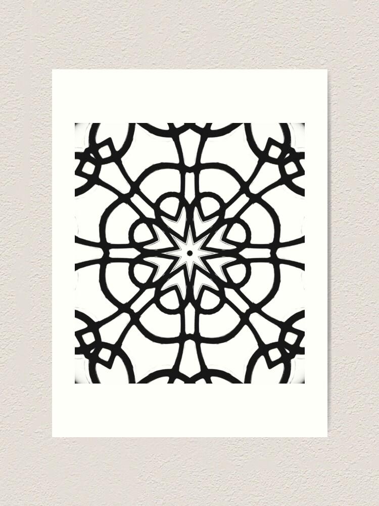 Alternate view of Monochrome One - Black and White Mandala Art Art Print